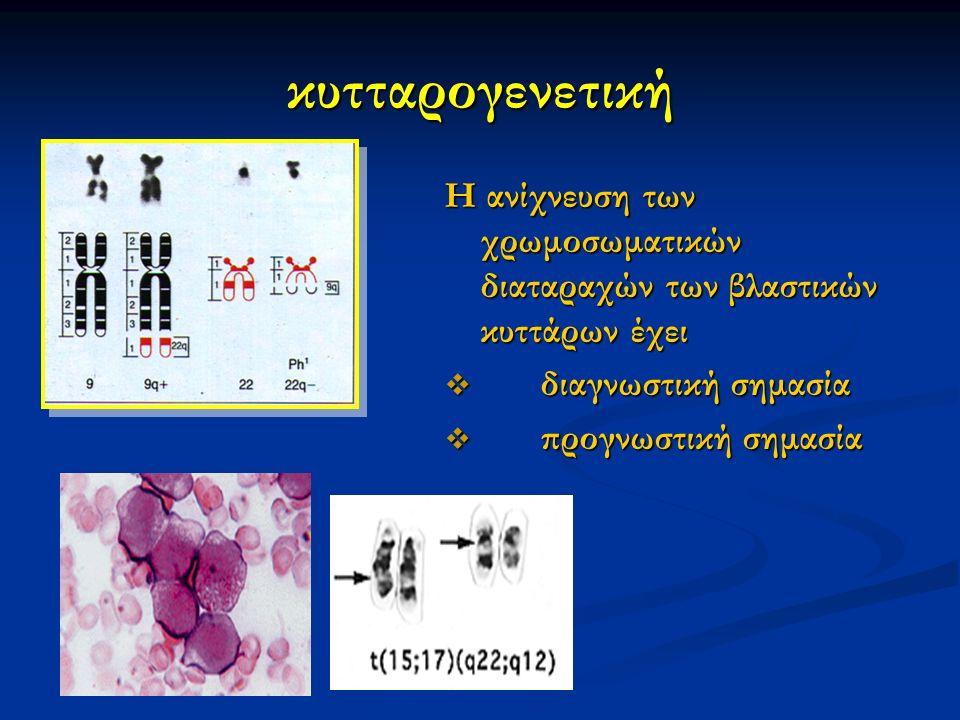 κυτταρογενετική Η ανίχνευση των χρωμοσωματικών διαταραχών των βλαστικών κυττάρων έχει  διαγνωστική σημασία  προγνωστική σημασία