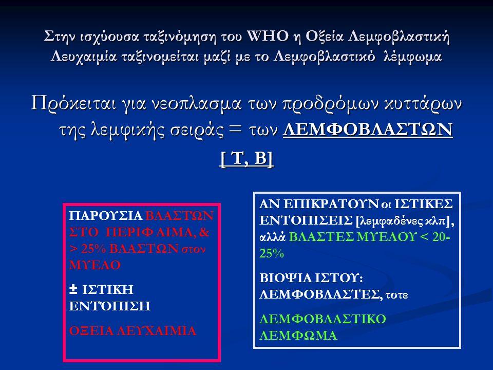 Στην ισχύουσα ταξινόμηση του WHO η Οξεία Λεμφοβλαστική Λευχαιμία ταξινομείται μαζί με το Λεμφοβλαστικό λέμφωμα Πρόκειται για νεοπλασμα των προδρόμων κ