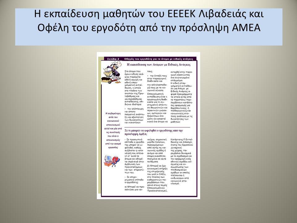 Η εκπαίδευση μαθητών του ΕΕΕΕΚ Λιβαδειάς και Οφέλη του εργοδότη από την πρόσληψη ΑΜΕΑ