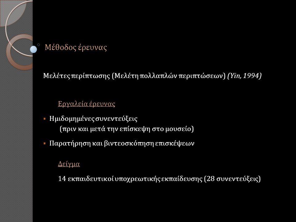Μέθοδος έρευνας Μελέτες περίπτωσης (Μελέτη πολλαπλών περιπτώσεων) (Yin, 1994) Εργαλεία έρευνας  Ημιδομημένες συνεντεύξεις (πριν και μετά την επίσκεψη στο μουσείο)  Παρατήρηση και βιντεοσκόπηση επισκέψεων Δείγμα 14 εκπαιδευτικοί υποχρεωτικής εκπαίδευσης (28 συνεντεύξεις)