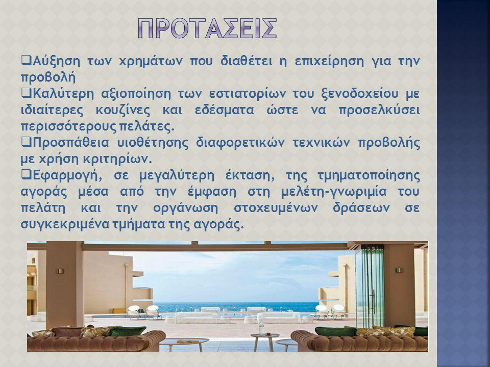  Αύξηση των χρημάτων που διαθέτει η επιχείρηση για την προβολή  Καλύτερη αξιοποίηση των εστιατορίων του ξενοδοχείου με ιδιαίτερες κουζίνες και εδέσματα ώστε να προσελκύσει περισσότερους πελάτες.
