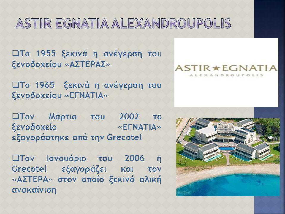  Το 1955 ξεκινά η ανέγερση του ξενοδοχείου «ΑΣΤΕΡΑΣ»  Το 1965 ξεκινά η ανέγερση του ξενοδοχείου «ΕΓΝΑΤΙΑ»  Τον Μάρτιο του 2002 το ξενοδοχείο «ΕΓΝΑΤΙΑ» εξαγοράστηκε από την Grecotel  Τον Ιανουάριο του 2006 η Grecotel εξαγοράζει και τον «ΑΣΤΕΡΑ» στον οποίο ξεκινά ολική ανακαίνιση