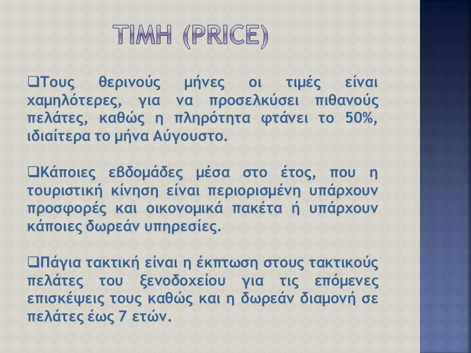  Τους θερινούς μήνες οι τιμές είναι χαμηλότερες, για να προσελκύσει πιθανούς πελάτες, καθώς η πληρότητα φτάνει το 50%, ιδιαίτερα το μήνα Αύγουστο.