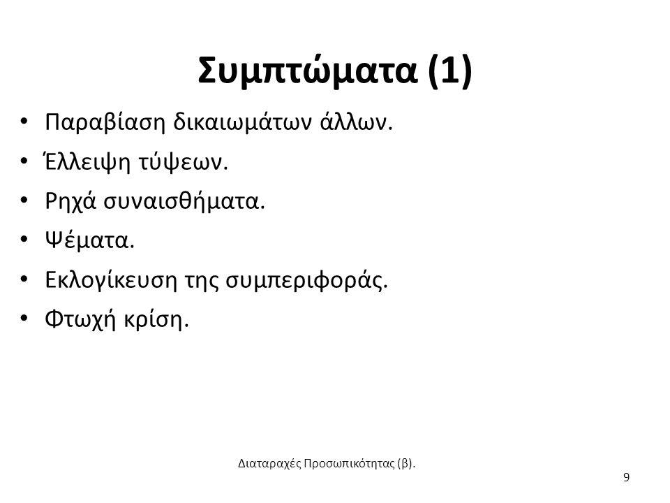 Συμπτώματα (2) Επιθετικότητα.Έλλειψη γνώσης του εαυτού.