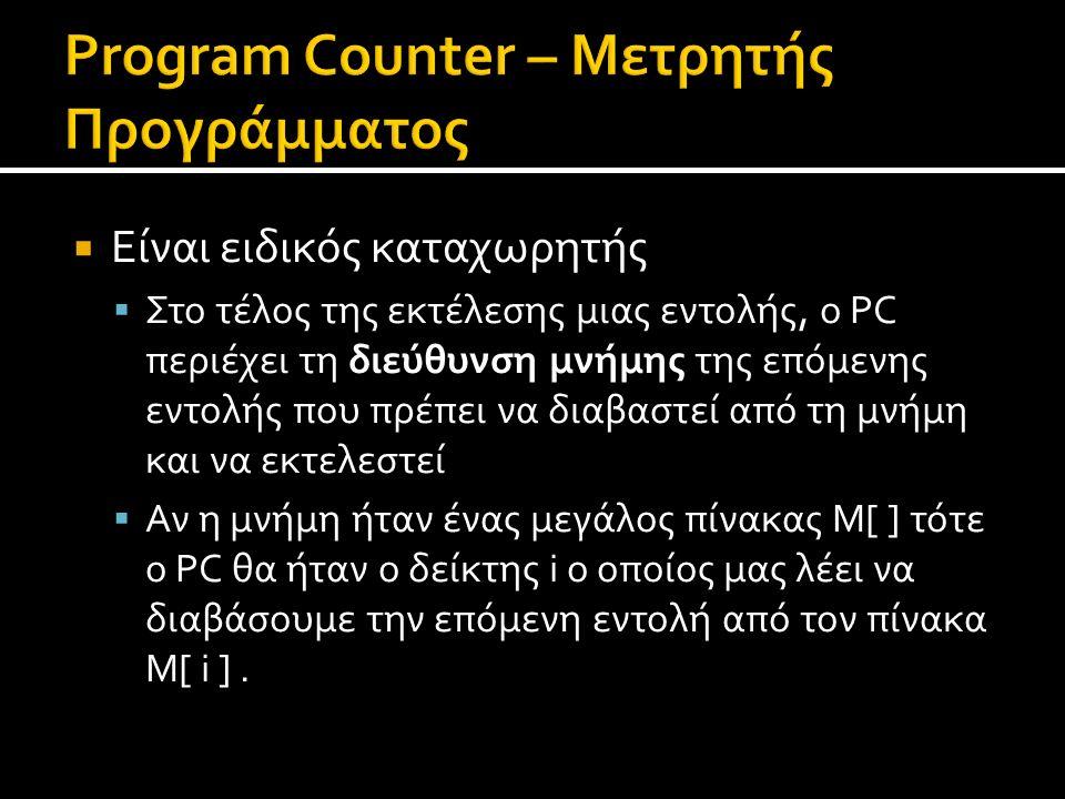  Είναι ειδικός καταχωρητής  Στο τέλος της εκτέλεσης μιας εντολής, ο PC περιέχει τη διεύθυνση μνήμης της επόμενης εντολής που πρέπει να διαβαστεί από τη μνήμη και να εκτελεστεί  Αν η μνήμη ήταν ένας μεγάλος πίνακας M[ ] τότε ο PC θα ήταν ο δείκτης i ο οποίος μας λέει να διαβάσουμε την επόμενη εντολή από τον πίνακα M[ i ].