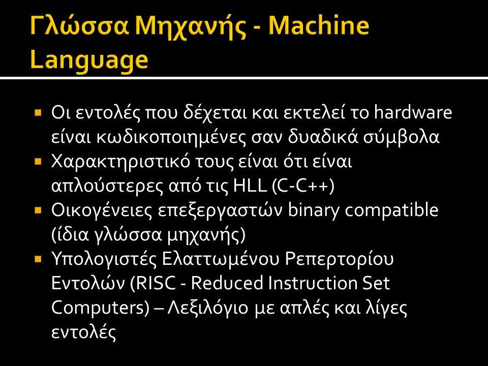  Οι εντολές που δέχεται και εκτελεί το hardware είναι κωδικοποιημένες σαν δυαδικά σύμβολα  Χαρακτηριστικό τους είναι ότι είναι απλούστερες από τις H