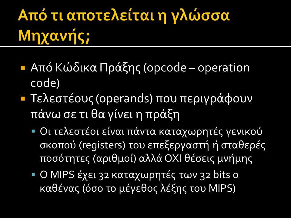 Από Κώδικα Πράξης (opcode – operation code)  Τελεστέους (operands) που περιγράφουν πάνω σε τι θα γίνει η πράξη  Οι τελεστέοι είναι πάντα καταχωρητ