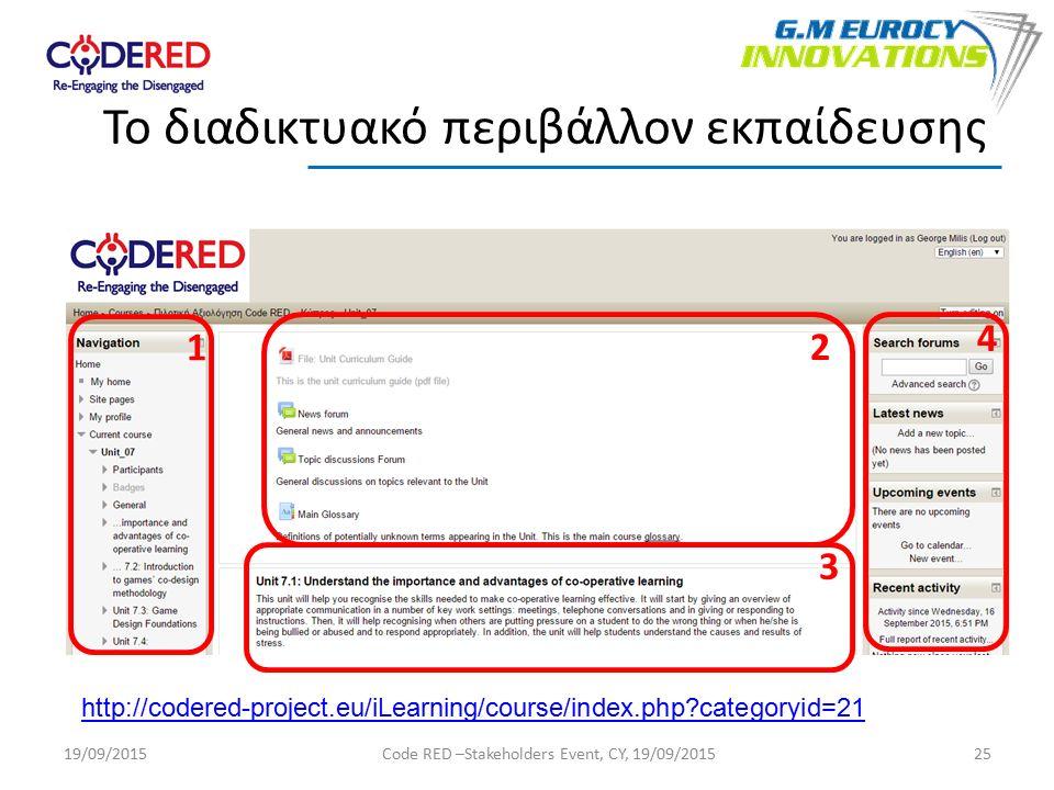 25 Το διαδικτυακό περιβάλλον εκπαίδευσης 1 2 3 4 http://codered-project.eu/iLearning/course/index.php categoryid=21 19/09/2015Code RED –Stakeholders Event, CY, 19/09/2015