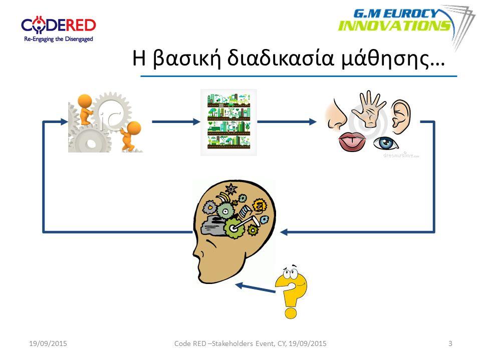3 Η βασική διαδικασία μάθησης… 19/09/2015Code RED –Stakeholders Event, CY, 19/09/2015