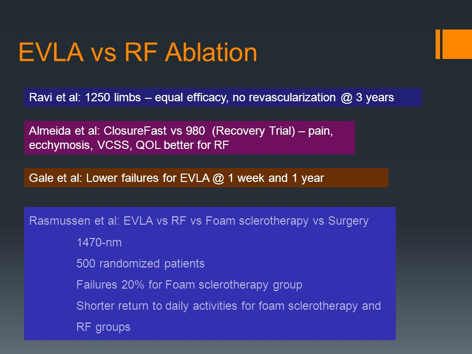 EVLA vs RF Ablation Ravi et al: 1250 limbs – equal efficacy, no 3 years Almeida et al: ClosureFast vs 980 (Recovery Trial) – pain, ecchymosis, VCSS, QOL better for RF Gale et al: Lower failures for 1 week and 1 year Rasmussen et al: EVLA vs RF vs Foam sclerotherapy vs Surgery 1470-nm 500 randomized patients Failures 20% for Foam sclerotherapy group Shorter return to daily activities for foam sclerotherapy and RF groups