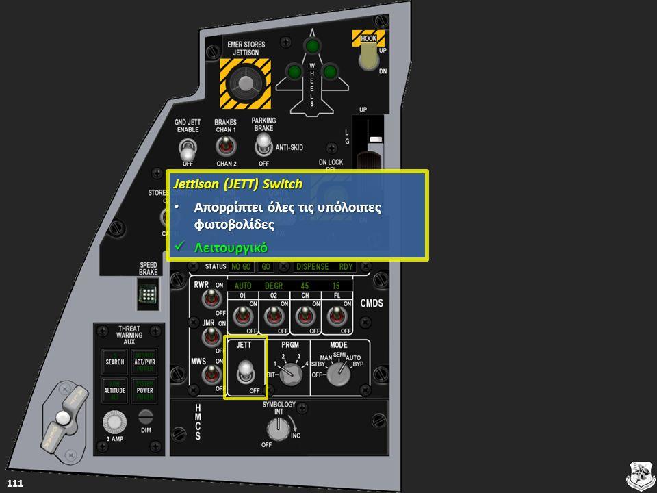 Jettison (JETT) Switch Jettison (JETT) Switch Απορρίπτει όλες τις υπόλοιπες φωτοβολίδες Απορρίπτει όλες τις υπόλοιπες φωτοβολίδες Απορρίπτει όλες τις υπόλοιπες φωτοβολίδες Απορρίπτει όλες τις υπόλοιπες φωτοβολίδες Λειτουργικό Λειτουργικό Λειτουργικό 111