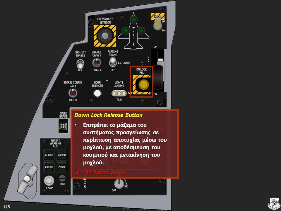 Down Lock Release Button Down Lock Release Button Επιτρέπει το μάζεμα του συστήματος προσγείωσης σε περίπτωση αποτυχίας μέσω του μοχλού, με αποδέσμευση του κουμπιού και μετακίνηση του μοχλού.