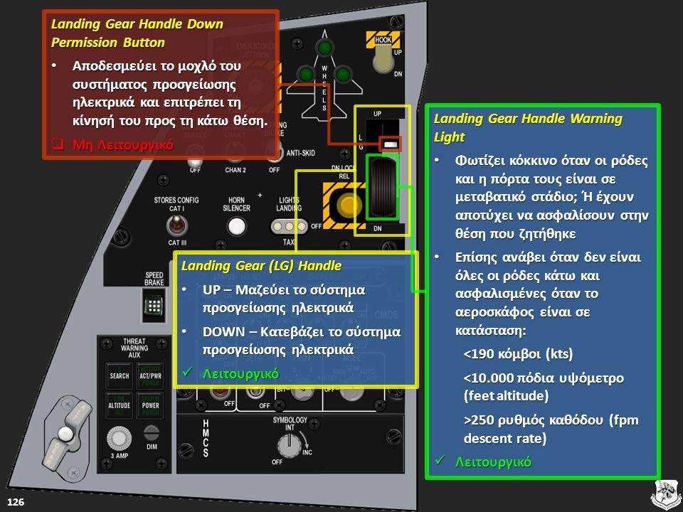 Landing Gear (LG) Handle Landing Gear (LG) Handle UP – Μαζεύει το σύστημα προσγείωσης ηλεκτρικά UP – Μαζεύει το σύστημα προσγείωσης ηλεκτρικά UP – Μαζεύει το σύστημα προσγείωσης ηλεκτρικά UP – Μαζεύει το σύστημα προσγείωσης ηλεκτρικά DOWN – Κατεβάζει το σύστημα προσγείωσης ηλεκτρικά DOWN – Κατεβάζει το σύστημα προσγείωσης ηλεκτρικά DOWN – Κατεβάζει το σύστημα προσγείωσης ηλεκτρικά DOWN – Κατεβάζει το σύστημα προσγείωσης ηλεκτρικά Λειτουργικό Λειτουργικό Λειτουργικό 126 Landing Gear Handle Warning Light Landing Gear Handle Warning Light Φωτίζει κόκκινο όταν οι ρόδες και η πόρτα τους είναι σε μεταβατικό στάδιο; Ή έχουν αποτύχει να ασφαλίσουν στην θέση που ζητήθηκε Φωτίζει κόκκινο όταν οι ρόδες και η πόρτα τους είναι σε μεταβατικό στάδιο; Ή έχουν αποτύχει να ασφαλίσουν στην θέση που ζητήθηκε Φωτίζει κόκκινο όταν οι ρόδες και η πόρτα τους είναι σε μεταβατικό στάδιο; Ή έχουν αποτύχει να ασφαλίσουν στην θέση που ζητήθηκε Φωτίζει κόκκινο όταν οι ρόδες και η πόρτα τους είναι σε μεταβατικό στάδιο; Ή έχουν αποτύχει να ασφαλίσουν στην θέση που ζητήθηκε Επίσης ανάβει όταν δεν είναι όλες οι ρόδες κάτω και ασφαλισμένες όταν το αεροσκάφος είναι σε κατάσταση: Επίσης ανάβει όταν δεν είναι όλες οι ρόδες κάτω και ασφαλισμένες όταν το αεροσκάφος είναι σε κατάσταση: Επίσης ανάβει όταν δεν είναι όλες οι ρόδες κάτω και ασφαλισμένες όταν το αεροσκάφος είναι σε κατάσταση: Επίσης ανάβει όταν δεν είναι όλες οι ρόδες κάτω και ασφαλισμένες όταν το αεροσκάφος είναι σε κατάσταση: <190 κόμβοι (kts) <190 κόμβοι (kts) <10.000 πόδια υψόμετρο (feet altitude) <10.000 πόδια υψόμετρο (feet altitude) >250 ρυθμός καθόδου (fpm descent rate) >250 ρυθμός καθόδου (fpm descent rate) Λειτουργικό Λειτουργικό Λειτουργικό Landing Gear Handle Down Permission Button Landing Gear Handle Down Permission Button Αποδεσμεύει το μοχλό του συστήματος προσγείωσης ηλεκτρικά και επιτρέπει τη κίνησή του προς τη κάτω θέση.