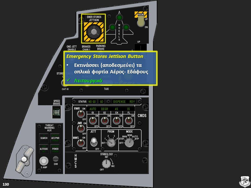 Emergency Stores Jettison Button Emergency Stores Jettison Button Εκτινάσσει (αποδεσμεύει) τα οπλικά φορτία Αέρος- Εδάφους Εκτινάσσει (αποδεσμεύει) τα οπλικά φορτία Αέρος- Εδάφους Εκτινάσσει (αποδεσμεύει) τα οπλικά φορτία Αέρος- Εδάφους Εκτινάσσει (αποδεσμεύει) τα οπλικά φορτία Αέρος- Εδάφους Λειτουργικό Λειτουργικό Λειτουργικό 130