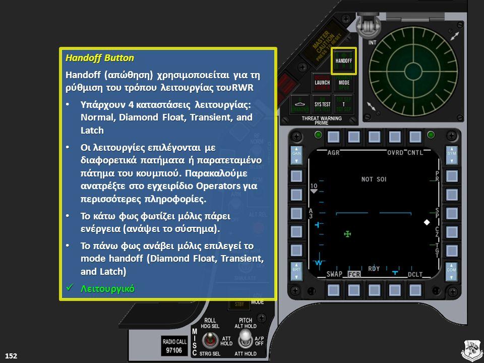 Handoff Button Handoff Button Handoff (απώθηση) χρησιμοποιείται για τη ρύθμιση του τρόπου λειτουργίας τουRWR Handoff (απώθηση) χρησιμοποιείται για τη