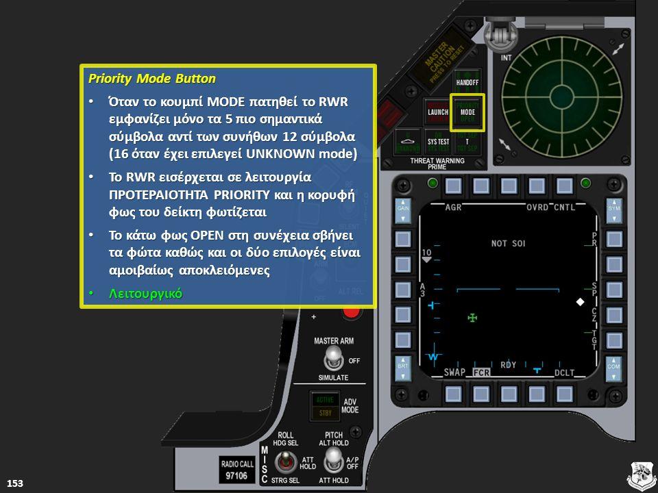 Priority Mode Button Priority Mode Button Όταν το κουμπί MODE πατηθεί το RWR εμφανίζει μόνο τα 5 πιο σημαντικά σύμβολα αντί των συνήθων 12 σύμβολα (16
