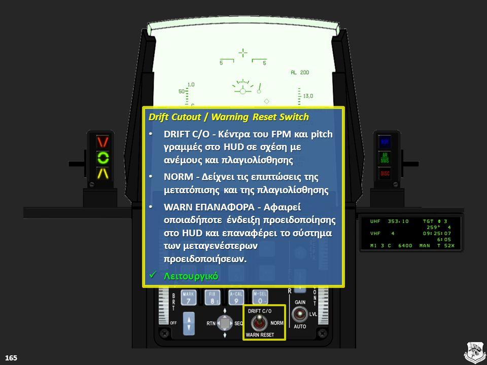 Drift Cutout / Warning Reset Switch Drift Cutout / Warning Reset Switch DRIFT C/O - Κέντρα του FPM και pitch γραμμές στο HUD σε σχέση με ανέμους και π