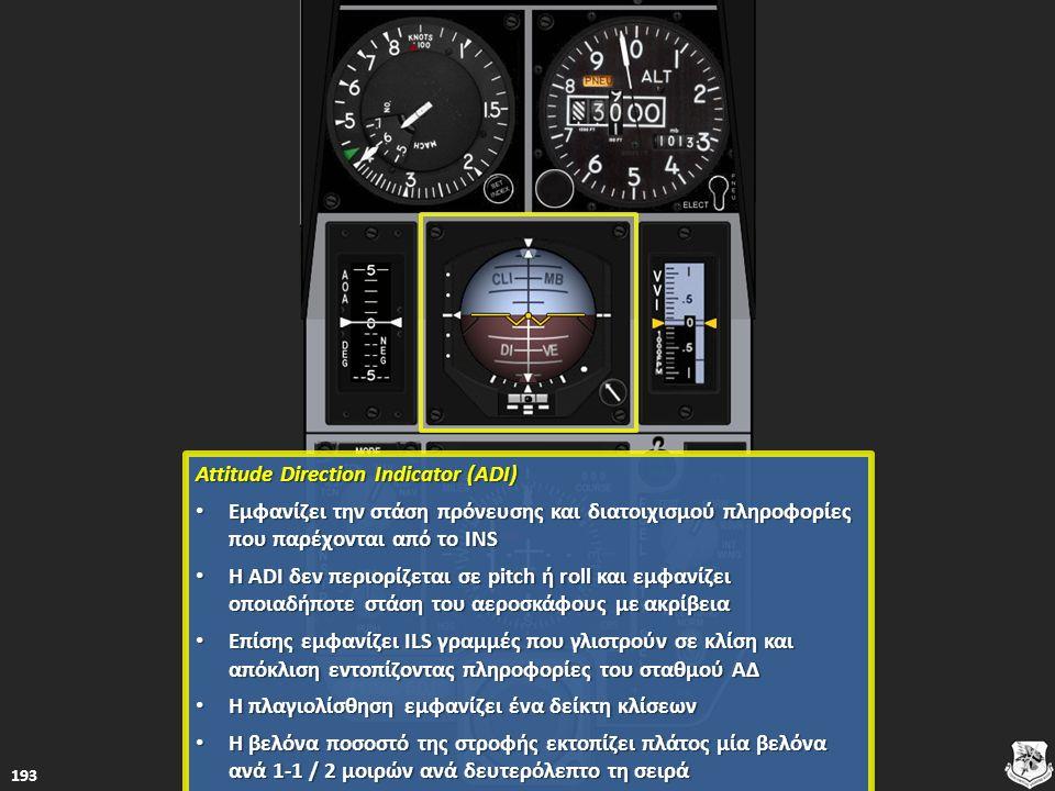 Attitude Direction Indicator (ADI) Attitude Direction Indicator (ADI) Εμφανίζει την στάση πρόνευσης και διατοιχισμού πληροφορίες που παρέχονται από το