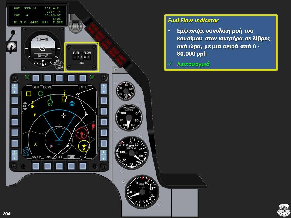 Fuel Flow Indicator Fuel Flow Indicator Εμφανίζει συνολική ροή του καυσίμου στον κινητήρα σε λίβρες ανά ώρα, με μια σειρά από 0 - 80.000 pph Εμφανίζει