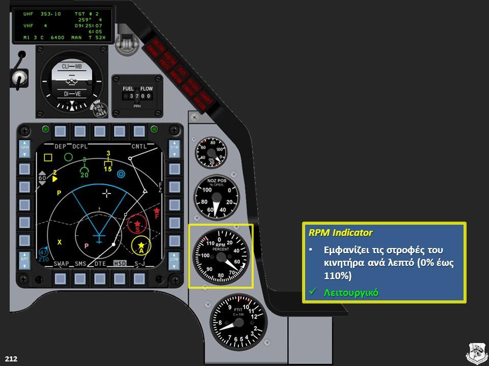 RPM Indicator RPM Indicator Εμφανίζει τις στροφές του κινητήρα ανά λεπτό (0% έως 110%) Εμφανίζει τις στροφές του κινητήρα ανά λεπτό (0% έως 110%) Εμφα