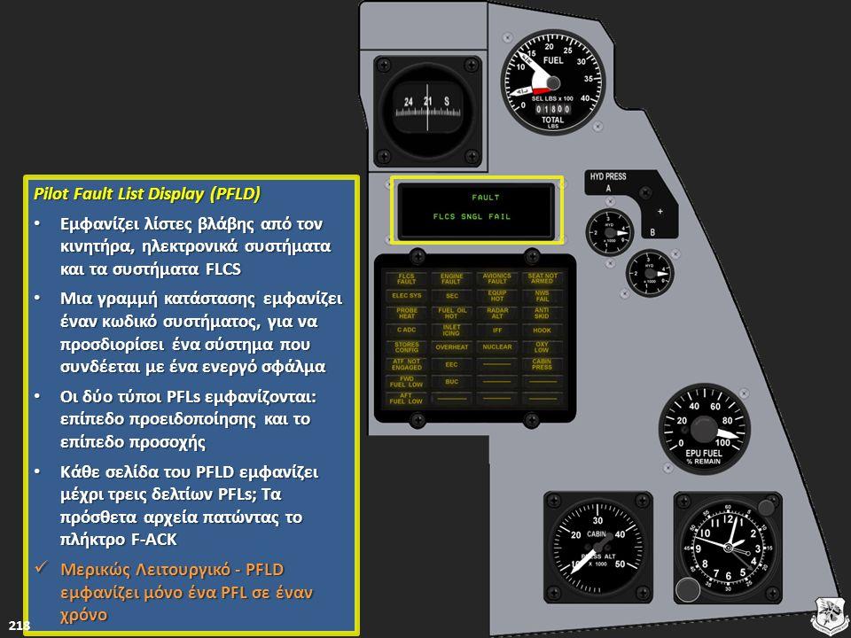 Pilot Fault List Display (PFLD) Pilot Fault List Display (PFLD) Εμφανίζει λίστες βλάβης από τον κινητήρα, ηλεκτρονικά συστήματα και τα συστήματα FLCS