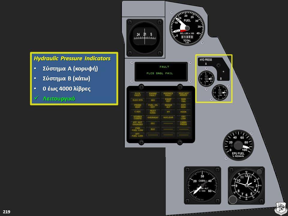 Hydraulic Pressure Indicators Hydraulic Pressure Indicators Σύστημα Α (κορυφή) Σύστημα Α (κορυφή) Σύστημα Α (κορυφή) Σύστημα Α (κορυφή) Σύστημα Β (κάτ