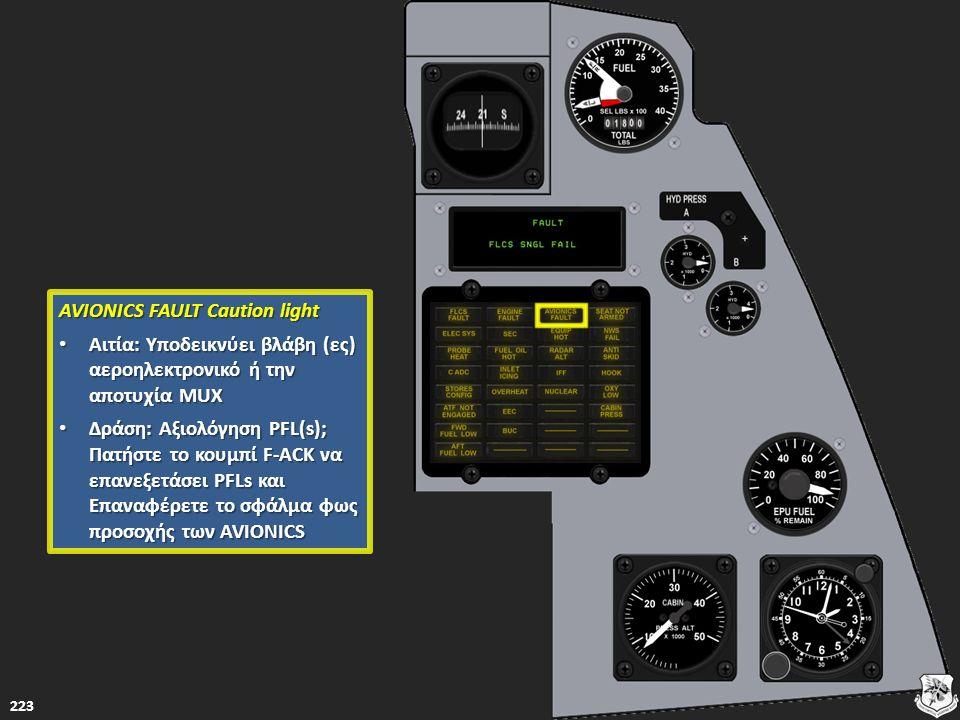 223 AVIONICS FAULT Caution light AVIONICS FAULT Caution light Αιτία: Υποδεικνύει βλάβη (ες) αεροηλεκτρονικό ή την αποτυχία MUX Αιτία: Υποδεικνύει βλάβ
