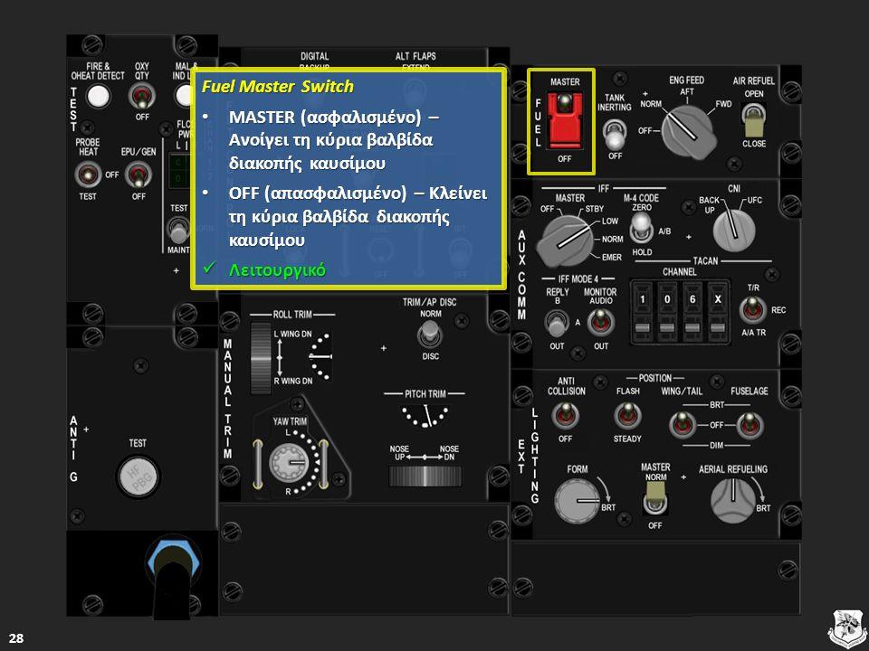 Fuel Master Switch Fuel Master Switch MASTER (ασφαλισμένο) – Ανοίγει τη κύρια βαλβίδα διακοπής καυσίμου MASTER (ασφαλισμένο) – Ανοίγει τη κύρια βαλβίδα διακοπής καυσίμου MASTER (ασφαλισμένο) – Ανοίγει τη κύρια βαλβίδα διακοπής καυσίμου MASTER (ασφαλισμένο) – Ανοίγει τη κύρια βαλβίδα διακοπής καυσίμου OFF (απασφαλισμένο) – Κλείνει τη κύρια βαλβίδα διακοπής καυσίμου OFF (απασφαλισμένο) – Κλείνει τη κύρια βαλβίδα διακοπής καυσίμου OFF (απασφαλισμένο) – Κλείνει τη κύρια βαλβίδα διακοπής καυσίμου OFF (απασφαλισμένο) – Κλείνει τη κύρια βαλβίδα διακοπής καυσίμου Λειτουργικό Λειτουργικό Λειτουργικό 28