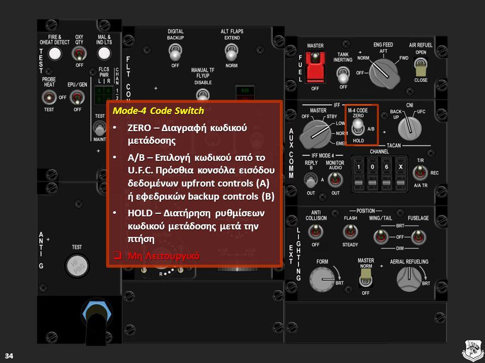 Mode-4 Code Switch Mode-4 Code Switch ZERO – Διαγραφή κωδικού μετάδοσης ZERO – Διαγραφή κωδικού μετάδοσης ZERO – Διαγραφή κωδικού μετάδοσης ZERO – Διαγραφή κωδικού μετάδοσης A/B – Επιλογή κωδικού από το U.F.C.