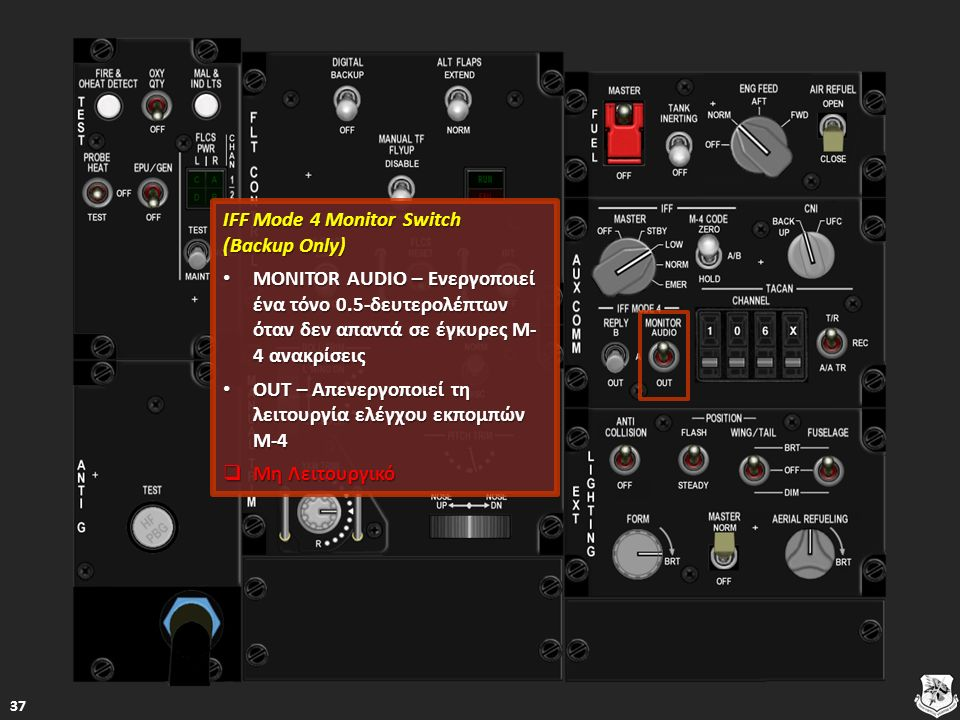 IFF Mode 4 Monitor Switch (Backup Only) IFF Mode 4 Monitor Switch (Backup Only) MONITOR AUDIO – Ενεργοποιεί ένα τόνο 0.5-δευτερολέπτων όταν δεν απαντά σε έγκυρες M- 4 ανακρίσεις MONITOR AUDIO – Ενεργοποιεί ένα τόνο 0.5-δευτερολέπτων όταν δεν απαντά σε έγκυρες M- 4 ανακρίσεις MONITOR AUDIO – Ενεργοποιεί ένα τόνο 0.5-δευτερολέπτων όταν δεν απαντά σε έγκυρες M- 4 ανακρίσεις MONITOR AUDIO – Ενεργοποιεί ένα τόνο 0.5-δευτερολέπτων όταν δεν απαντά σε έγκυρες M- 4 ανακρίσεις OUT – Απενεργοποιεί τη λειτουργία ελέγχου εκπομπών M-4 OUT – Απενεργοποιεί τη λειτουργία ελέγχου εκπομπών M-4 OUT – Απενεργοποιεί τη λειτουργία ελέγχου εκπομπών M-4 OUT – Απενεργοποιεί τη λειτουργία ελέγχου εκπομπών M-4  Μη Λειτουργικό Μη Λειτουργικό Μη Λειτουργικό 37