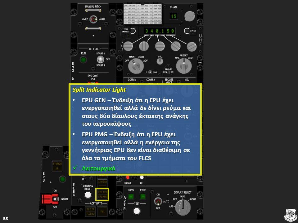 Split Indicator Light Split Indicator Light EPU GEN – Ένδειξη ότι η EPU έχει ενεργοποιηθεί αλλά δε δίνει ρεύμα και στους δύο δίαυλους έκτακτης ανάγκης του αεροσκάφους EPU GEN – Ένδειξη ότι η EPU έχει ενεργοποιηθεί αλλά δε δίνει ρεύμα και στους δύο δίαυλους έκτακτης ανάγκης του αεροσκάφους EPU GEN – Ένδειξη ότι η EPU έχει ενεργοποιηθεί αλλά δε δίνει ρεύμα και στους δύο δίαυλους έκτακτης ανάγκης του αεροσκάφους EPU GEN – Ένδειξη ότι η EPU έχει ενεργοποιηθεί αλλά δε δίνει ρεύμα και στους δύο δίαυλους έκτακτης ανάγκης του αεροσκάφους EPU PMG – Ένδειξη ότι η EPU έχει ενεργοποιηθεί αλλά η ενέργεια της γεννήτριας EPU δεν είναι διαθέσιμη σε όλα τα τμήματα του FLCS EPU PMG – Ένδειξη ότι η EPU έχει ενεργοποιηθεί αλλά η ενέργεια της γεννήτριας EPU δεν είναι διαθέσιμη σε όλα τα τμήματα του FLCS EPU PMG – Ένδειξη ότι η EPU έχει ενεργοποιηθεί αλλά η ενέργεια της γεννήτριας EPU δεν είναι διαθέσιμη σε όλα τα τμήματα του FLCS EPU PMG – Ένδειξη ότι η EPU έχει ενεργοποιηθεί αλλά η ενέργεια της γεννήτριας EPU δεν είναι διαθέσιμη σε όλα τα τμήματα του FLCS Λειτουργικό Λειτουργικό Λειτουργικό 58