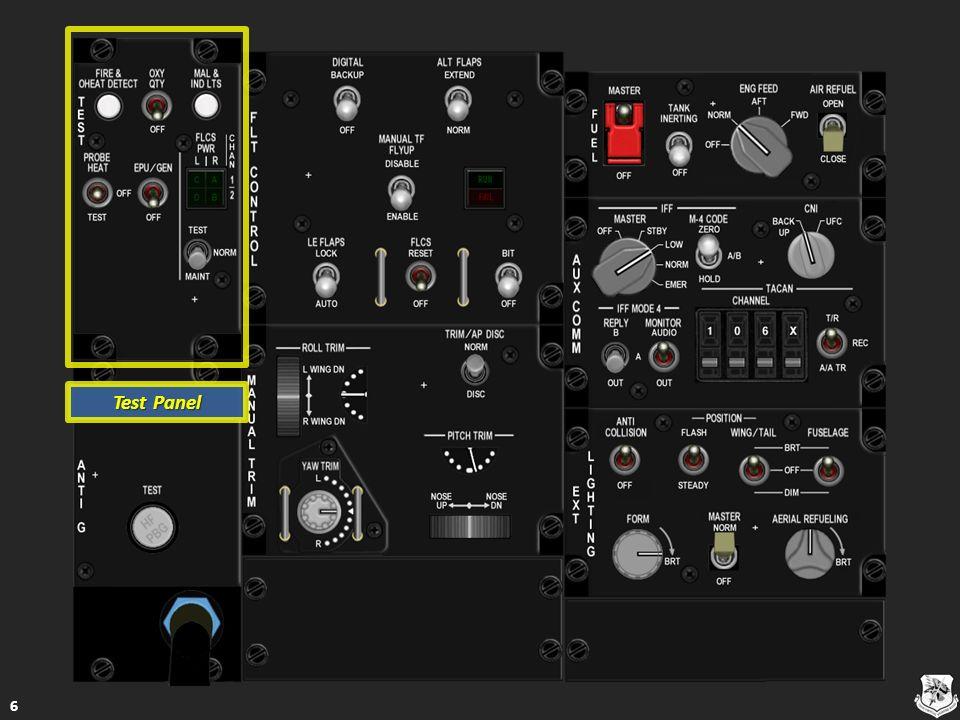 Aircraft Battery Indicator Lights Aircraft Battery Indicator Lights TO FLCS – Δείχνει αν ο δίαυλος ενέργειας μπαταρίας πάει σε ένα ή παραπάνω από τα τέσσερα FLCS ηλεκτρικά συστήματα - διακλαδώσεις TO FLCS – Δείχνει αν ο δίαυλος ενέργειας μπαταρίας πάει σε ένα ή παραπάνω από τα τέσσερα FLCS ηλεκτρικά συστήματα - διακλαδώσεις TO FLCS – Δείχνει αν ο δίαυλος ενέργειας μπαταρίας πάει σε ένα ή παραπάνω από τα τέσσερα FLCS ηλεκτρικά συστήματα - διακλαδώσεις TO FLCS – Δείχνει αν ο δίαυλος ενέργειας μπαταρίας πάει σε ένα ή παραπάνω από τα τέσσερα FLCS ηλεκτρικά συστήματα - διακλαδώσεις FLCS RLY – Δείχνει ότι η ηλεκτρική ενέργεια (voltage) σε ένα ή περισσότερα FLCS ηλεκτρικά συστήματα – διακλαδώσεις δεν είναι αρκετή ή είναι μηδενική FLCS RLY – Δείχνει ότι η ηλεκτρική ενέργεια (voltage) σε ένα ή περισσότερα FLCS ηλεκτρικά συστήματα – διακλαδώσεις δεν είναι αρκετή ή είναι μηδενική FLCS RLY – Δείχνει ότι η ηλεκτρική ενέργεια (voltage) σε ένα ή περισσότερα FLCS ηλεκτρικά συστήματα – διακλαδώσεις δεν είναι αρκετή ή είναι μηδενική FLCS RLY – Δείχνει ότι η ηλεκτρική ενέργεια (voltage) σε ένα ή περισσότερα FLCS ηλεκτρικά συστήματα – διακλαδώσεις δεν είναι αρκετή ή είναι μηδενική FAIL – Δείχνει αποτυχία λειτουργίας της μπαταρίας του αεροσκάφους FAIL – Δείχνει αποτυχία λειτουργίας της μπαταρίας του αεροσκάφους FAIL – Δείχνει αποτυχία λειτουργίας της μπαταρίας του αεροσκάφους FAIL – Δείχνει αποτυχία λειτουργίας της μπαταρίας του αεροσκάφους Λειτουργικό Λειτουργικό Λειτουργικό 57