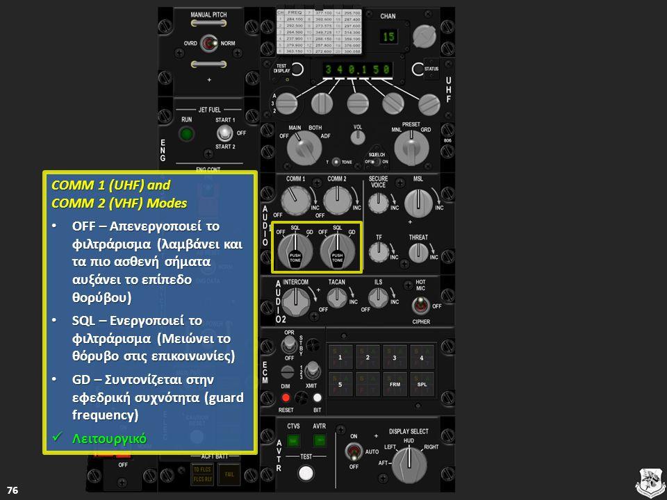 COMM 1 (UHF) and COMM 2 (VHF) Modes COMM 1 (UHF) and COMM 2 (VHF) Modes OFF – Απενεργοποιεί τo φιλτράρισμα (λαμβάνει και τα πιο ασθενή σήματα αυξάνει το επίπεδο θορύβου) OFF – Απενεργοποιεί τo φιλτράρισμα (λαμβάνει και τα πιο ασθενή σήματα αυξάνει το επίπεδο θορύβου) OFF – Απενεργοποιεί τo φιλτράρισμα (λαμβάνει και τα πιο ασθενή σήματα αυξάνει το επίπεδο θορύβου) OFF – Απενεργοποιεί τo φιλτράρισμα (λαμβάνει και τα πιο ασθενή σήματα αυξάνει το επίπεδο θορύβου) SQL – Ενεργοποιεί το φιλτράρισμα (Μειώνει το θόρυβο στις επικοινωνίες) SQL – Ενεργοποιεί το φιλτράρισμα (Μειώνει το θόρυβο στις επικοινωνίες) SQL – Ενεργοποιεί το φιλτράρισμα (Μειώνει το θόρυβο στις επικοινωνίες) SQL – Ενεργοποιεί το φιλτράρισμα (Μειώνει το θόρυβο στις επικοινωνίες) GD – Συντονίζεται στην εφεδρική συχνότητα (guard frequency) GD – Συντονίζεται στην εφεδρική συχνότητα (guard frequency) GD – Συντονίζεται στην εφεδρική συχνότητα (guard frequency) GD – Συντονίζεται στην εφεδρική συχνότητα (guard frequency) Λειτουργικό Λειτουργικό Λειτουργικό 76