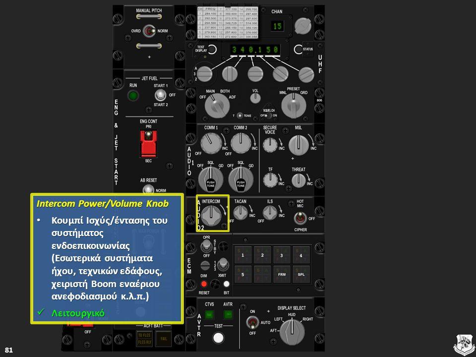 Intercom Power/Volume Knob Intercom Power/Volume Knob Κουμπί Ισχύς/έντασης του συστήματος ενδοεπικοινωνίας (Εσωτερικά συστήματα ήχου, τεχνικών εδάφους, χειριστή Boom εναέριου ανεφοδιασμού κ.λ.π.) Κουμπί Ισχύς/έντασης του συστήματος ενδοεπικοινωνίας (Εσωτερικά συστήματα ήχου, τεχνικών εδάφους, χειριστή Boom εναέριου ανεφοδιασμού κ.λ.π.) Κουμπί Ισχύς/έντασης του συστήματος ενδοεπικοινωνίας (Εσωτερικά συστήματα ήχου, τεχνικών εδάφους, χειριστή Boom εναέριου ανεφοδιασμού κ.λ.π.) Κουμπί Ισχύς/έντασης του συστήματος ενδοεπικοινωνίας (Εσωτερικά συστήματα ήχου, τεχνικών εδάφους, χειριστή Boom εναέριου ανεφοδιασμού κ.λ.π.) Λειτουργικό Λειτουργικό Λειτουργικό 81
