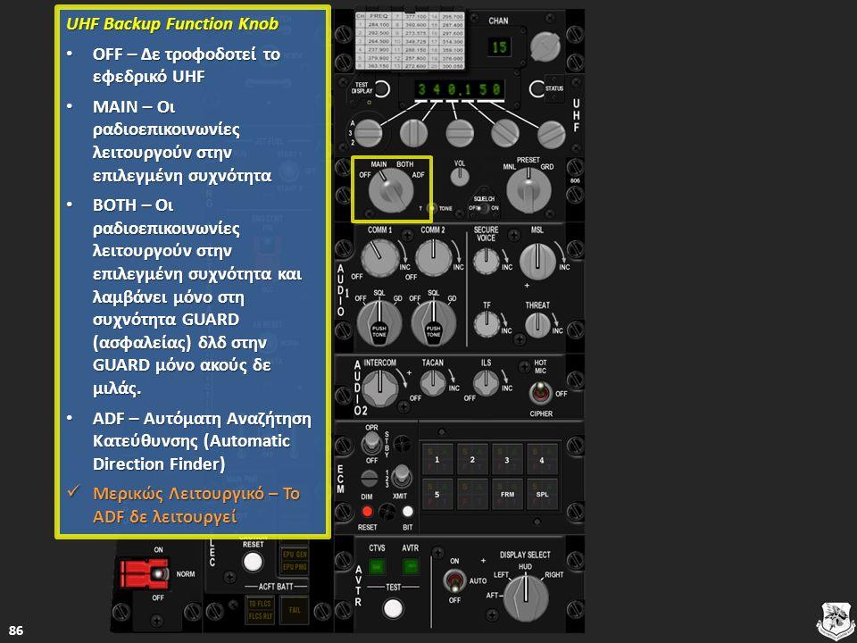 UHF Backup Function Knob UHF Backup Function Knob OFF – Δε τροφοδοτεί το εφεδρικό UHF OFF – Δε τροφοδοτεί το εφεδρικό UHF OFF – Δε τροφοδοτεί το εφεδρικό UHF OFF – Δε τροφοδοτεί το εφεδρικό UHF MAIN – Οι ραδιοεπικοινωνίες λειτουργούν στην επιλεγμένη συχνότητα MAIN – Οι ραδιοεπικοινωνίες λειτουργούν στην επιλεγμένη συχνότητα MAIN – Οι ραδιοεπικοινωνίες λειτουργούν στην επιλεγμένη συχνότητα MAIN – Οι ραδιοεπικοινωνίες λειτουργούν στην επιλεγμένη συχνότητα BOTH – Οι ραδιοεπικοινωνίες λειτουργούν στην επιλεγμένη συχνότητα και λαμβάνει μόνο στη συχνότητα GUARD (ασφαλείας) δλδ στην GUARD μόνο ακούς δε μιλάς.
