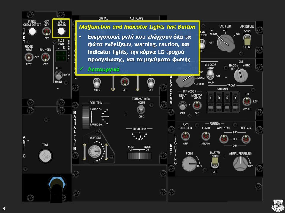 Split Indicator Light Split Indicator Light FLCS PMG – Κανένα από τα τμήματα του FLCS δε λαμβάνει ενέργεια FLCS PMG – Κανένα από τα τμήματα του FLCS δε λαμβάνει ενέργεια FLCS PMG – Κανένα από τα τμήματα του FLCS δε λαμβάνει ενέργεια FLCS PMG – Κανένα από τα τμήματα του FLCS δε λαμβάνει ενέργεια MAIN GEN – Η εξωτερική η κύρια γεννήτρια ενέργειας δεν είναι συνδεδεμένη σε έναν ή και στους δύο κύριους διαύλους ενέργειας του αεροσκάφους και μάλλον έχει χαλάσει MAIN GEN – Η εξωτερική η κύρια γεννήτρια ενέργειας δεν είναι συνδεδεμένη σε έναν ή και στους δύο κύριους διαύλους ενέργειας του αεροσκάφους και μάλλον έχει χαλάσει MAIN GEN – Η εξωτερική η κύρια γεννήτρια ενέργειας δεν είναι συνδεδεμένη σε έναν ή και στους δύο κύριους διαύλους ενέργειας του αεροσκάφους και μάλλον έχει χαλάσει MAIN GEN – Η εξωτερική η κύρια γεννήτρια ενέργειας δεν είναι συνδεδεμένη σε έναν ή και στους δύο κύριους διαύλους ενέργειας του αεροσκάφους και μάλλον έχει χαλάσει Λειτουργικό Λειτουργικό Λειτουργικό 60