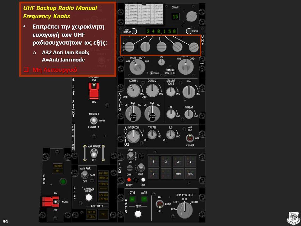 UHF Backup Radio Manual Frequency Knobs UHF Backup Radio Manual Frequency Knobs Επιτρέπει την χειροκίνητη εισαγωγή των UHF ραδιοσυχνοτήτων ως εξής: Επιτρέπει την χειροκίνητη εισαγωγή των UHF ραδιοσυχνοτήτων ως εξής: Επιτρέπει την χειροκίνητη εισαγωγή των UHF ραδιοσυχνοτήτων ως εξής: Επιτρέπει την χειροκίνητη εισαγωγή των UHF ραδιοσυχνοτήτων ως εξής: o A32 Anti Jam Knob; A=Anti Jam mode A32 Anti Jam Knob; A=Anti Jam mode A32 Anti Jam Knob; A=Anti Jam mode  Μη Λειτουργικό Μη Λειτουργικό Μη Λειτουργικό 91