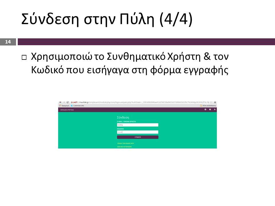 Σύνδεση στην Πύλη (4/4)  Χρησιμοποιώ το Συνθηματικό Χρήστη & τον Κωδικό που εισήγαγα στη φόρμα εγγραφής 14