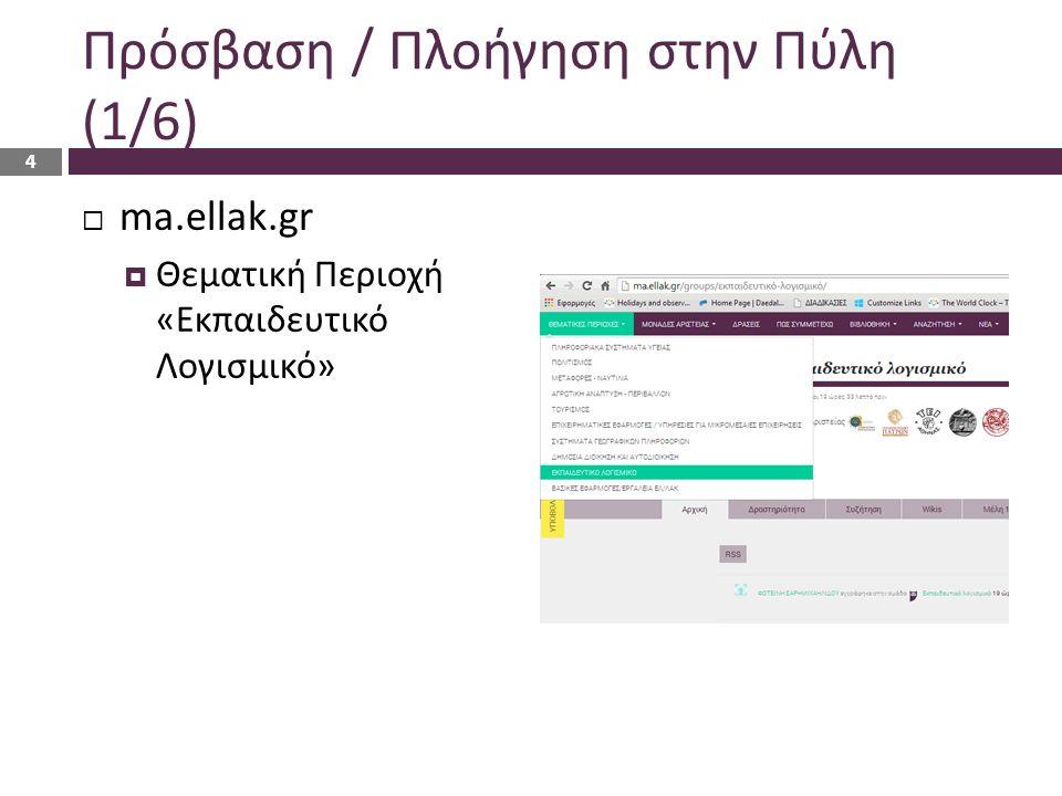 Πρόσβαση / Πλοήγηση στην Πύλη (1/6)  ma.ellak.gr  Θεματική Περιοχή «Εκπαιδευτικό Λογισμικό» 4