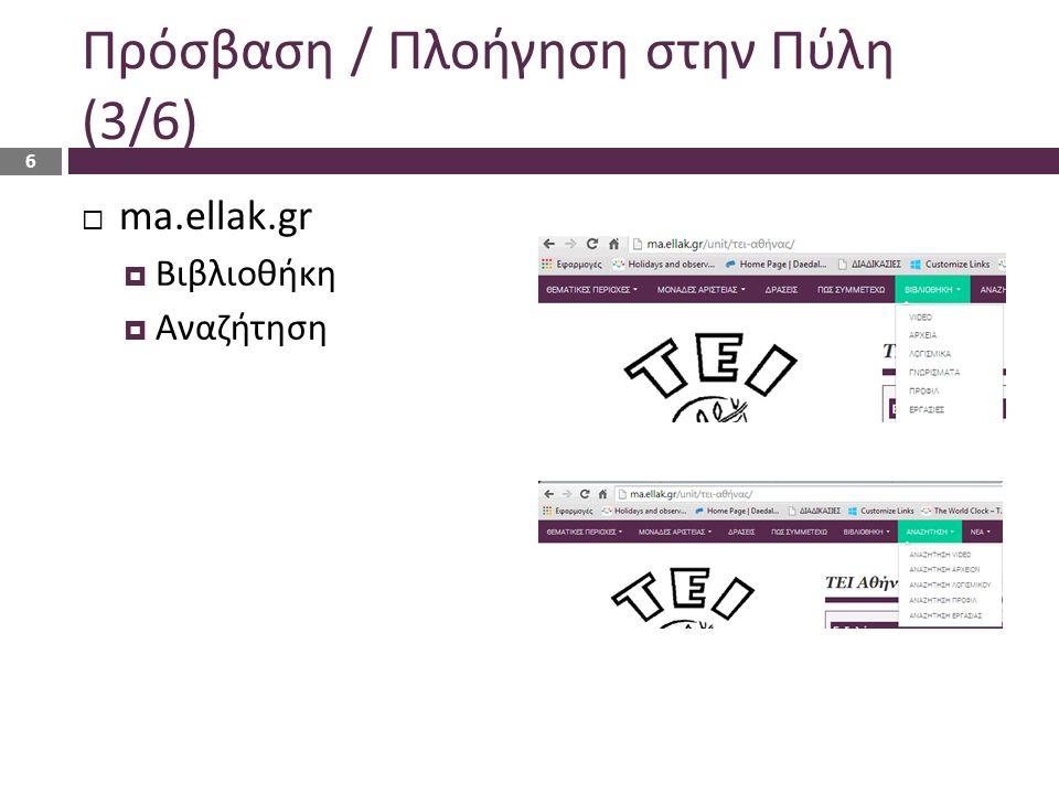 Πρόσβαση / Πλοήγηση στην Πύλη (3/6)  ma.ellak.gr  Βιβλιοθήκη  Αναζήτηση 6