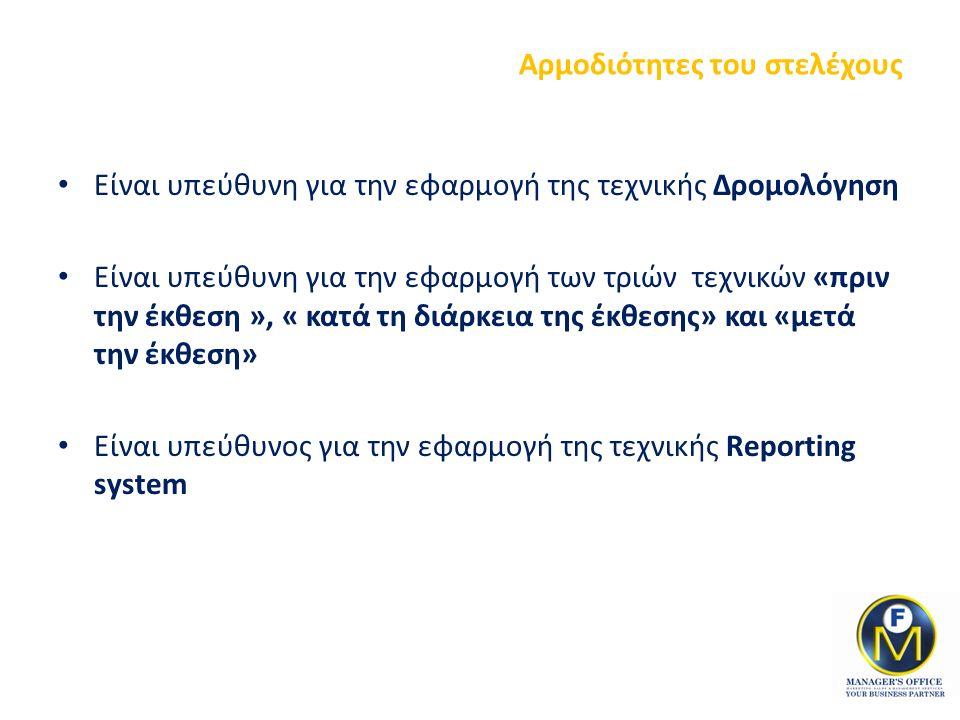Αρμοδιότητες του στελέχους Είναι υπεύθυνη για την εφαρμογή της τεχνικής Δρομολόγηση Είναι υπεύθυνη για την εφαρμογή των τριών τεχνικών «πριν την έκθεση », « κατά τη διάρκεια της έκθεσης» και «μετά την έκθεση» Είναι υπεύθυνος για την εφαρμογή της τεχνικής Reporting system