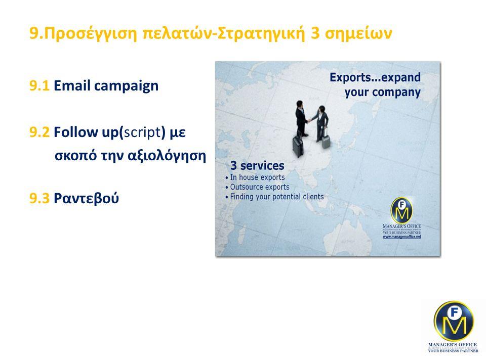 9.Προσέγγιση πελατών-Στρατηγική 3 σημείων 9.1 Email campaign 9.2 Follow up(script) με σκοπό την αξιολόγηση 9.3 Ραντεβού