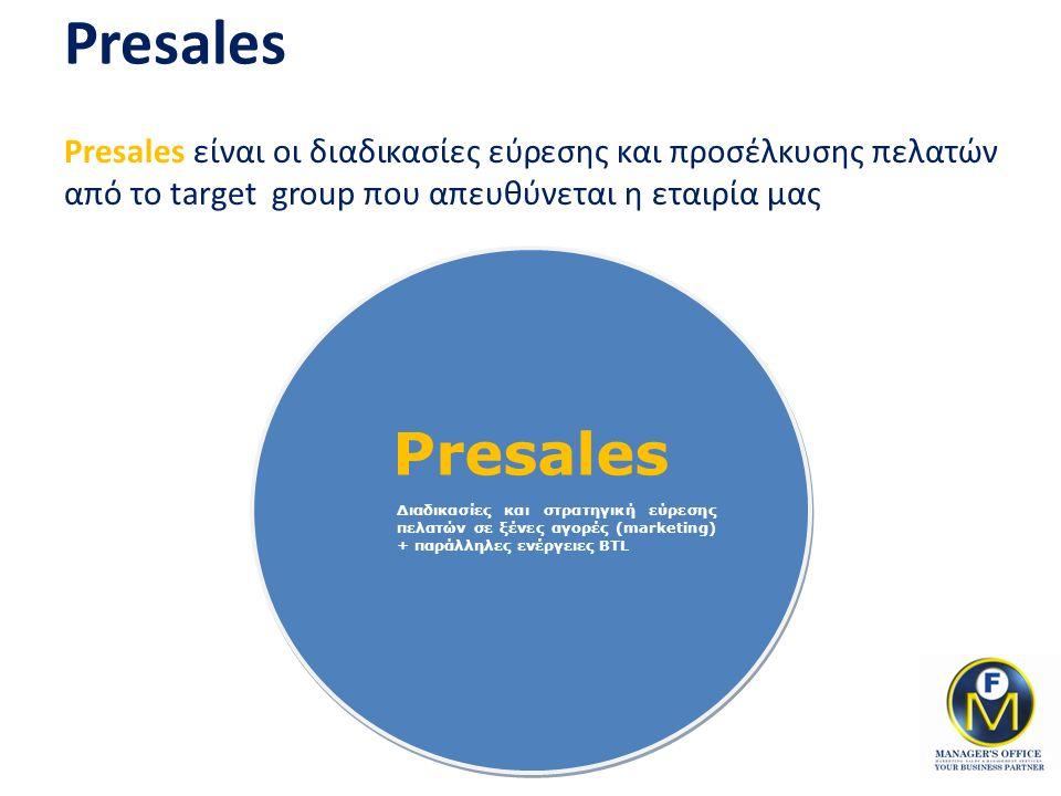 Presales Presales είναι οι διαδικασίες εύρεσης και προσέλκυσης πελατών από το target group που απευθύνεται η εταιρία μας Presales Διαδικασίες και στρα