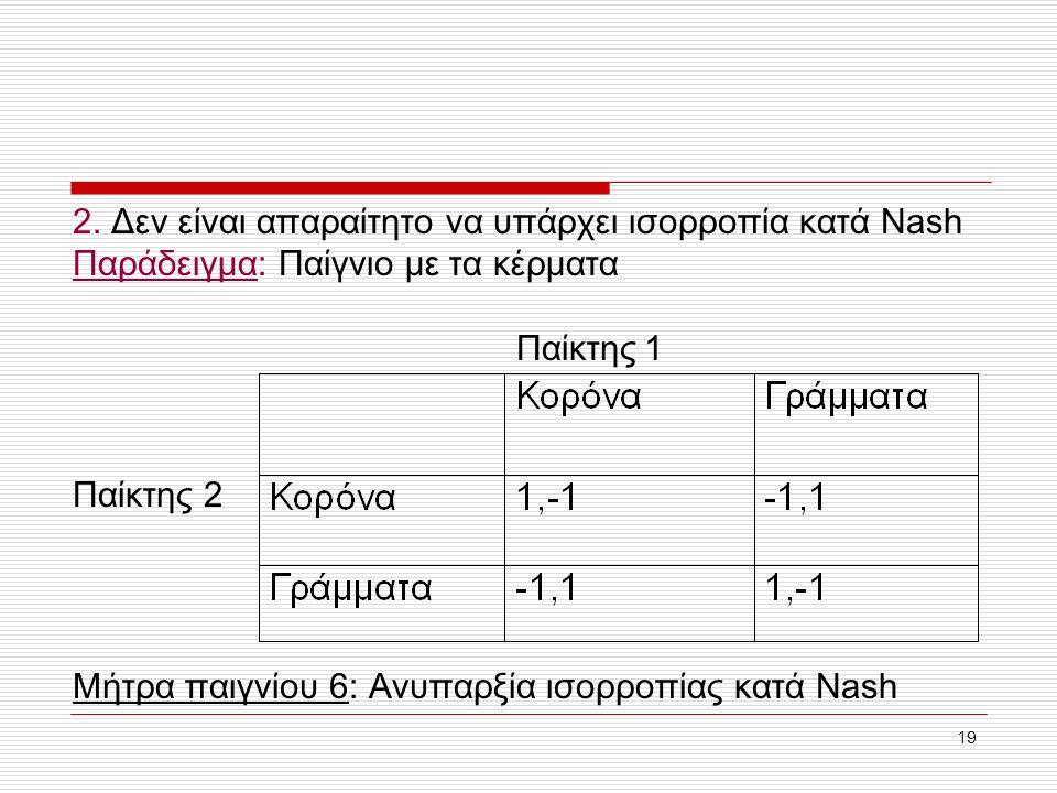 19 2. Δεν είναι απαραίτητο να υπάρχει ισορροπία κατά Nash Παράδειγμα: Παίγνιο με τα κέρματα Παίκτης 1 Μήτρα παιγνίου 6: Ανυπαρξία ισορροπίας κατά Nash