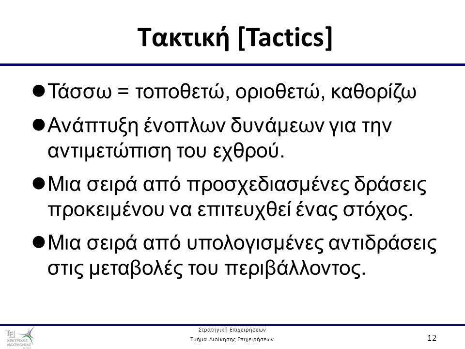Στρατηγική Επιχειρήσεων Τμήμα Διοίκησης Επιχειρήσεων 12 Τακτική [Tactics] Τάσσω = τοποθετώ, οριοθετώ, καθορίζω Ανάπτυξη ένοπλων δυνάμεων για την αντιμετώπιση του εχθρού.
