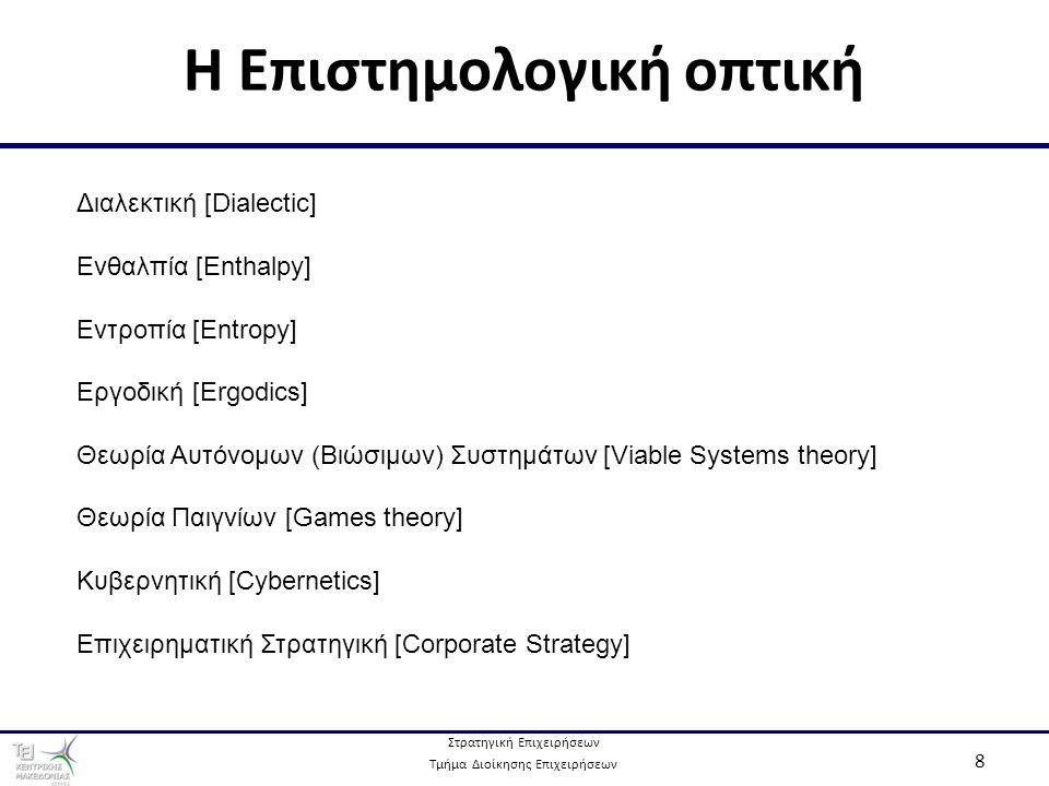 Στρατηγική Επιχειρήσεων Τμήμα Διοίκησης Επιχειρήσεων 8 Η Επιστημολογική οπτική Διαλεκτική [Dialectic] Ενθαλπία [Enthalpy] Εντροπία [Entropy] Εργοδική [Ergodics] Θεωρία Αυτόνομων (Βιώσιμων) Συστημάτων [Viable Systems theory] Θεωρία Παιγνίων [Games theory] Κυβερνητική [Cybernetics] Επιχειρηματική Στρατηγική [Corporate Strategy]