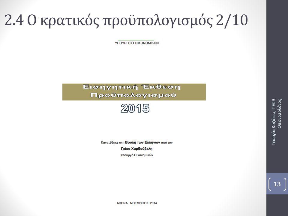 Γεωργία Καζάκου, ΠΕ09 Οικονομολόγος 13 2.4 Ο κρατικός προϋπολογισμός 2/10
