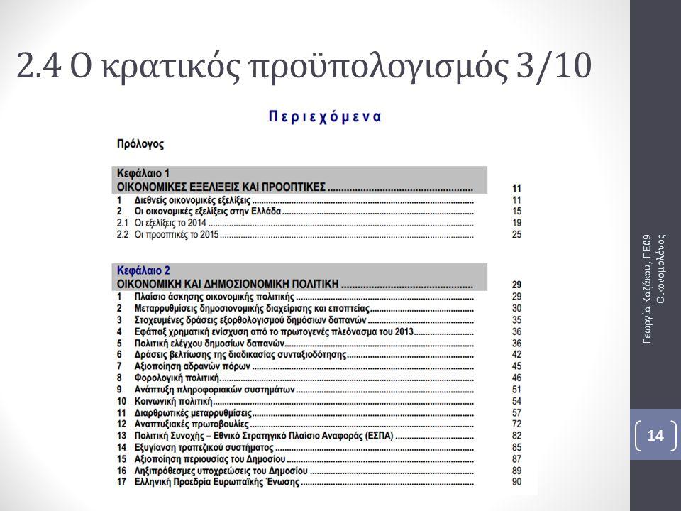 Γεωργία Καζάκου, ΠΕ09 Οικονομολόγος 14 2.4 Ο κρατικός προϋπολογισμός 3/10