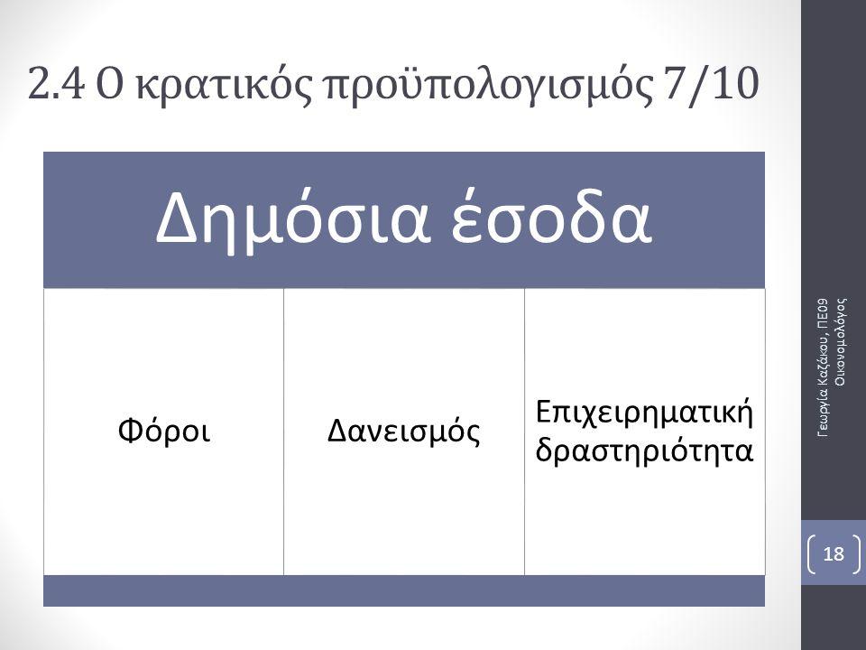 Δημόσια έσοδα ΦόροιΔανεισμός Επιχειρηματική δραστηριότητα Γεωργία Καζάκου, ΠΕ09 Οικονομολόγος 18 2.4 Ο κρατικός προϋπολογισμός 7/10