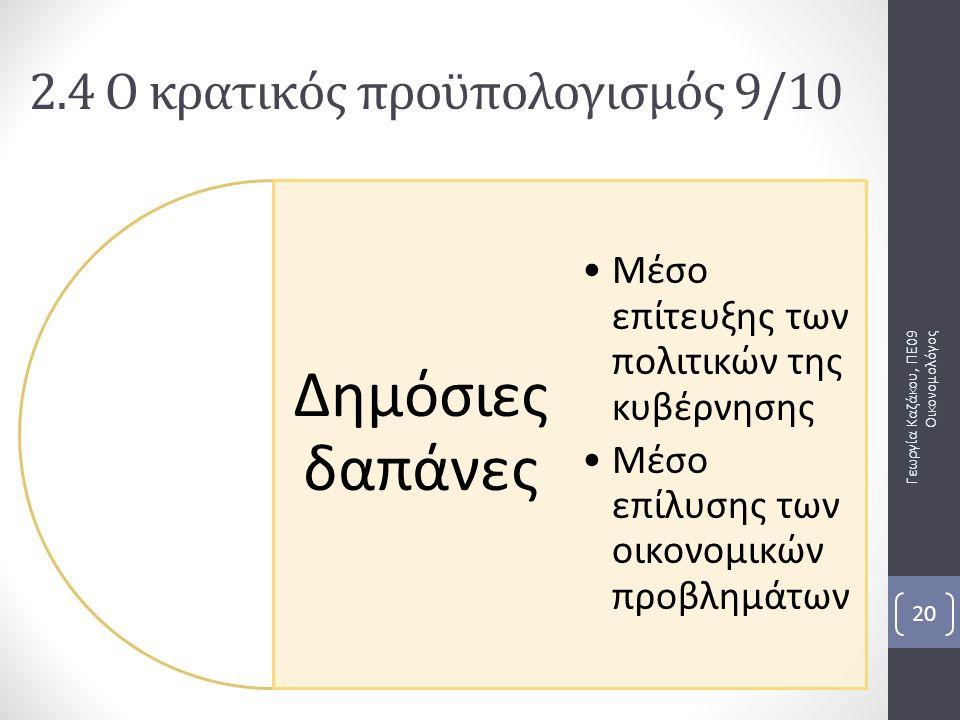 Δημόσιες δαπάνες Μέσο επίτευξης των πολιτικών της κυβέρνησης Μέσο επίλυσης των οικονομικών προβλημάτων Γεωργία Καζάκου, ΠΕ09 Οικονομολόγος 20 2.4 Ο κρατικός προϋπολογισμός 9/10